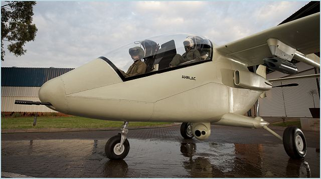 AHRLAC is a compact twin-boom single-engine surveillance and light strike aircraft with a tandem-seated crew of two.