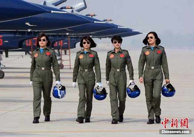 For the first time, four Chinese female acrobatic pilots will perform abroad at the Langkawi International Maritime & Aerospace Exhibition in Malaysia next week. The four members of the People's Liberation Army (PLA) Air Force acrobatic team left for Malaysia earlier Wednesday in the Chinese made J-10 fighter jets, said Air Force spokesman Shen Jinke.