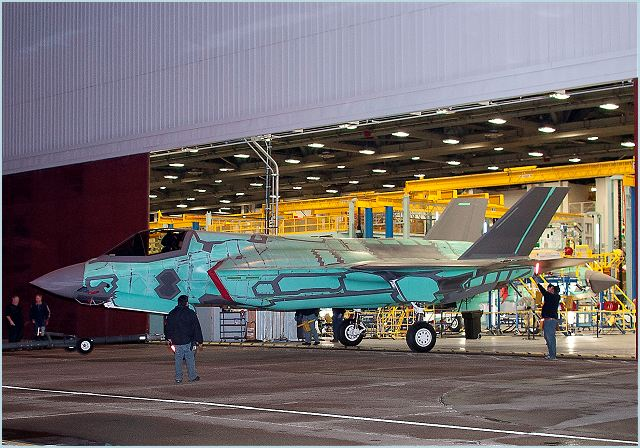 The first international Lockheed Martin [NYSE:LMT] F-35 Lightning II rolled out of the factory Sunday evening. The United Kingdom Ministry of Defence will use the short takeoff/vertical landing (STOVL) jet, known as BK-1, for training and operational tests. BK-1 will undergo functional fuel system checks before being transported to the flight line for ground and flight tests in the coming months. The jet is scheduled to be delivered in 2012.