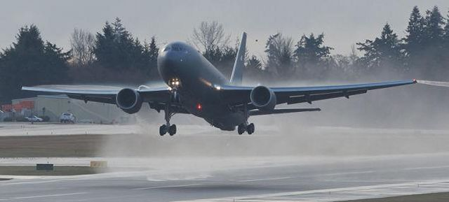 Boeing and the U.S. Air Force successfully completed the first flight of the KC-46 tanker test program today. The plane, a Boeing 767-2C, took off from Paine Field, Wash., at 9:29 a.m. (PST) and landed three hours and 32 minutes later at Boeing Field. The aircraft will receive its military systems following certification.