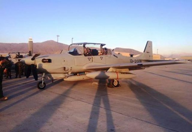 Afghan Air Force received its four first A 29 Super Tucano light attack aircraft 640 01