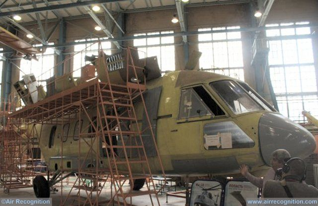 Kazan Mi 38T military helicopter first prototype in final assembly line 640 002