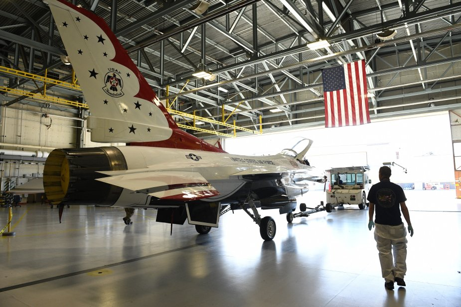 USAF F 16 SLEP program reaches milestone as first aircraft rolls off shop floor 001