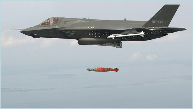 Traveling at 400 knots at an altitude of 4,200 ft, BF-3, a short take-off and vertical landing F-35B variant, released an inert 1,000 lb. GBU-32 Joint Direct Attack Munition (JDAM) separation weapon over water in an Atlantic test range.