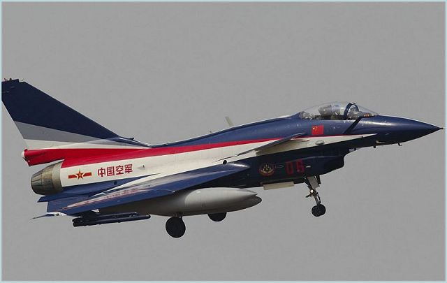 J-10A multi-role fighter aircraft of the flight acrobatic team of the People's Liberation Army Air Force (PLAAF)