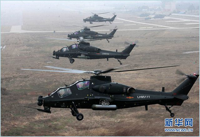 Chinese Armed Forces launch a new combat training program with new attack helicopters WZ-10 and WZ-19. An army aviation brigade under the Nanjing Military Area Command (MAC) of the Chinese People's Liberation Army (PLA) organizes a helicopter flight training, in a bid to temper the tactical skills of the pilots and the helicopter operation-and-control capability.