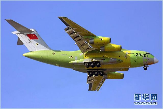 China on Saturday, January 26, 2013, conducted a successful test flight of its new domestically made large military transport aircraft Y-20. The plane took off at around 2:00pm from an airport in Yanliang, northwest China's Shaanxi Province, according to CCTV News.