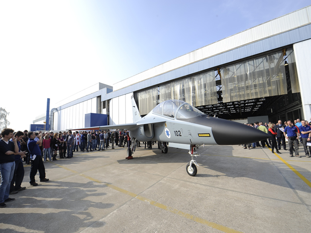The first M-346 advanced trainer for the Israeli Air & Space Force was rolled out today in a ceremony held at Alenia Aermacchi's plant in Venegono Superiore, Italy.
