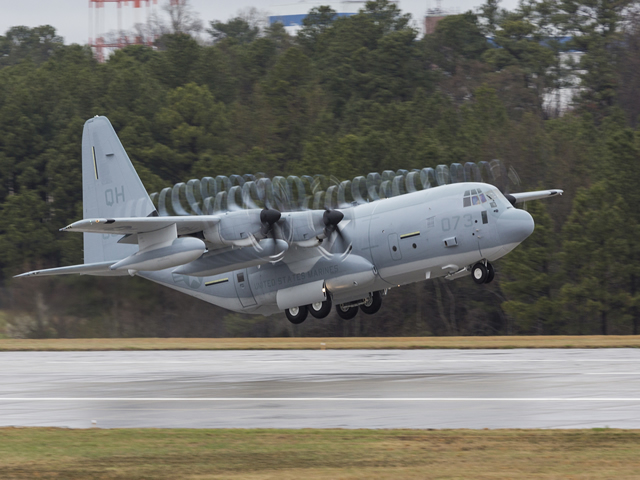 The first KC-130J Super Hercules tanker assigned to a U.S. Marine Corps Reserve squadron was ferried today from the Lockheed Martin facility located here. This KC-130J is assigned to the Marine Aerial Refueler Transport Squadron 234 (VMGR-234) stationed at Naval Air Station Fort Worth Joint Reserve Base, Texas.