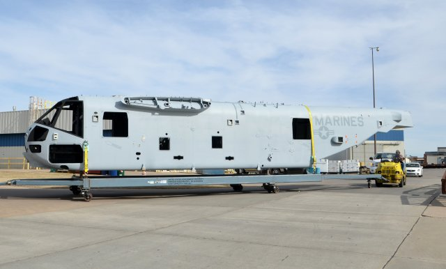 Spirit AeroSystems has successfully delivered to Sikorsky the third fuselage section for the CH-53K 'King Stallion' heavy lift helicopter program's System Demonstration and Test Article (SDTA) contract. Consisting of an integrated cockpit and cabin structure with a separately attached tail section, the composite-skinned fuselage will enable prime contractor Sikorsky to begin assembling the third of four SDTA aircraft to further solidify the final production configuration of the CH-53K aircraft for the U.S. Marine Corps.