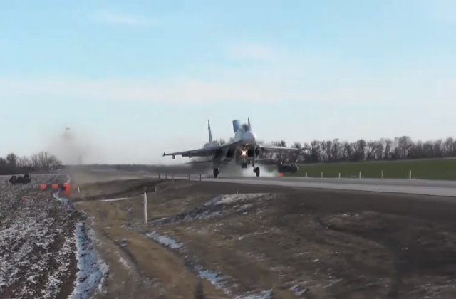 Russian jets practice first ever touch and go exercise on highway 640 001