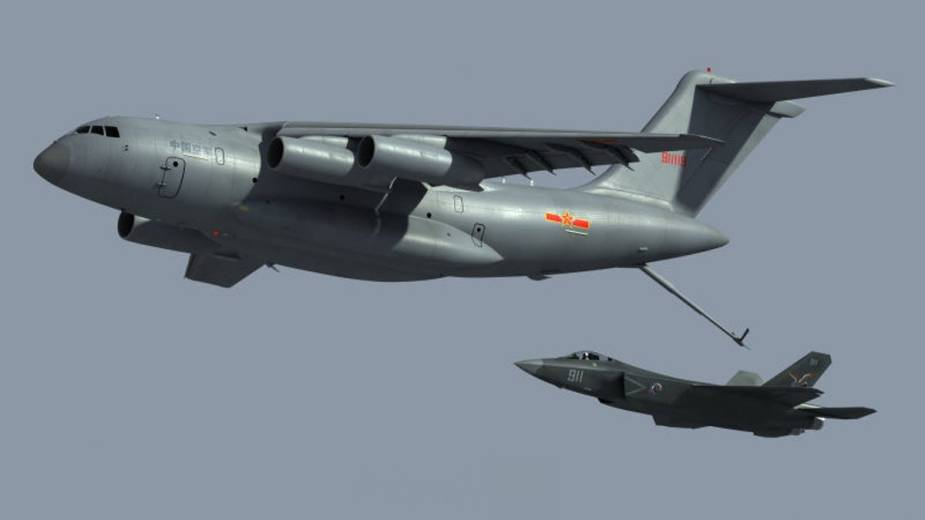 Chinaese Y 20 tanker variant conducts aerial refueling for J 20 fighter jet